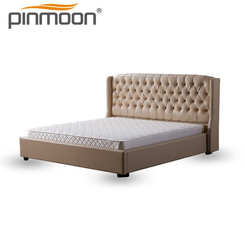 Slat Support China Fabric Bedroom Sets Plywood King tuft button Hotel Bed