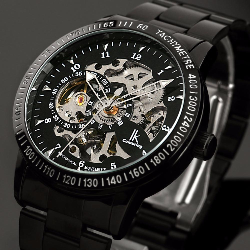 Бренд IK мужская Спортивные часы Из Нержавеющей Стали Скелет Автоматические Механические часы мужчины Стимпанк Военная Часы Relogio Masculino
