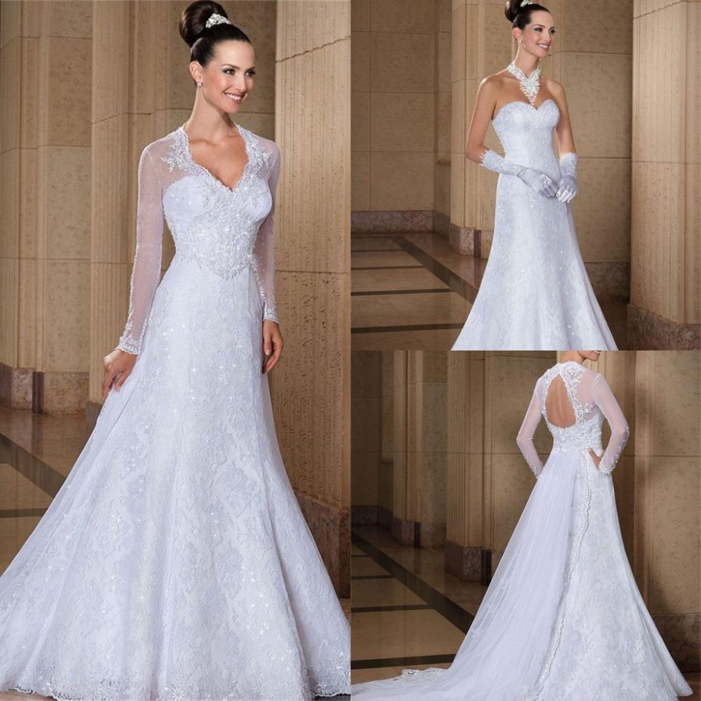2013 Wedding Gowns Detachable Train: Aliexpress.com : Buy Long Sleeve Wedding Dress With Jacket