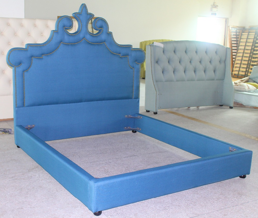 high quality art cloth bed hot selling solid bed frame king queen size bed of peacock style in. Black Bedroom Furniture Sets. Home Design Ideas