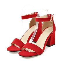 Sandals women 2018 summer med square chunky heels red black Buckle ankle  strap high Block heel cd25a10898ec