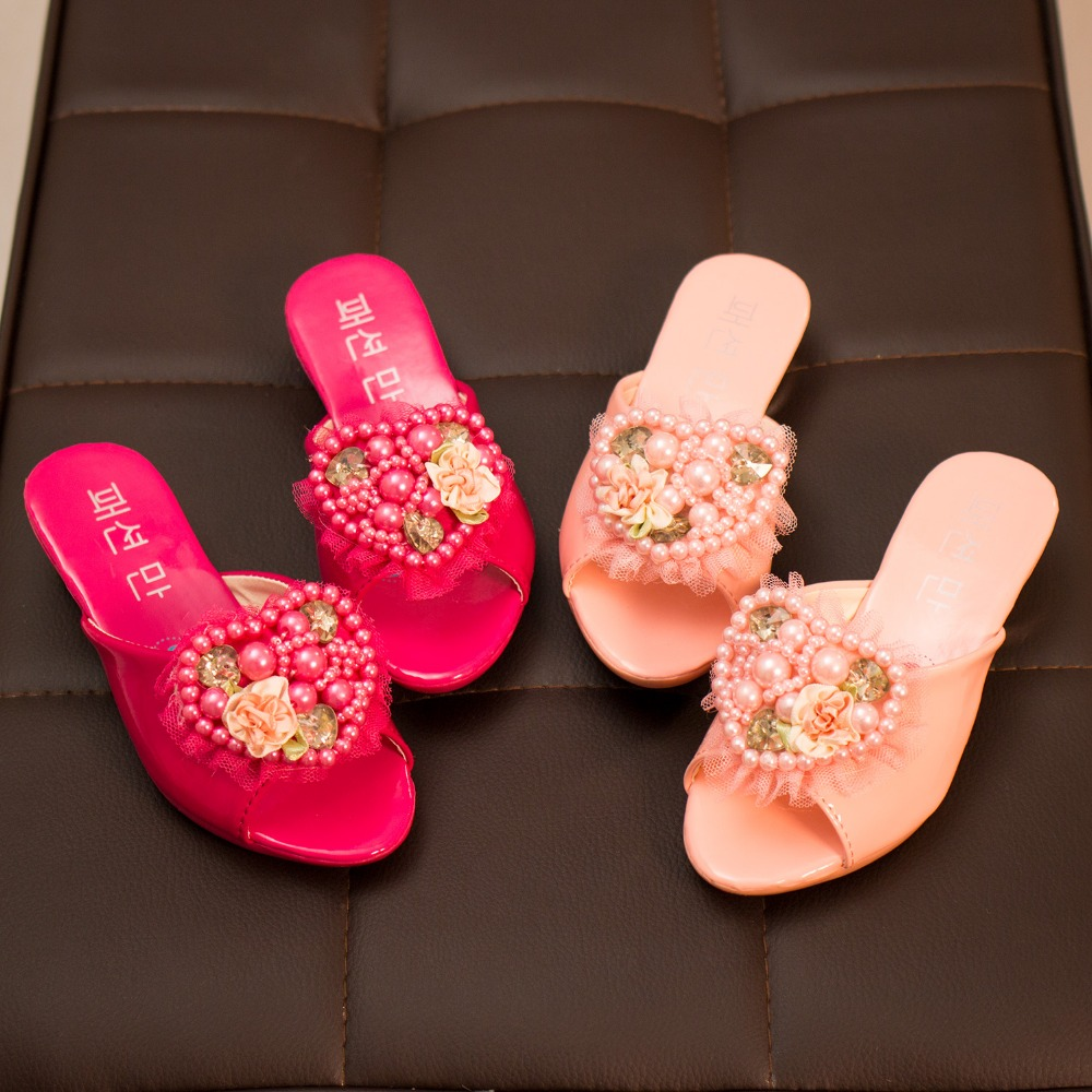 2016 New Arrived Hote Sales Children Girls Summer slippers with flower and fake diamond princess