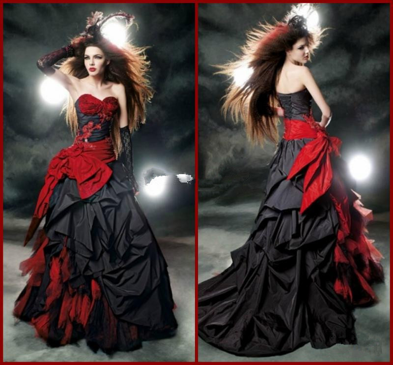 2015 Sexy Vintage Black And Red Gothic Wedding Dresses