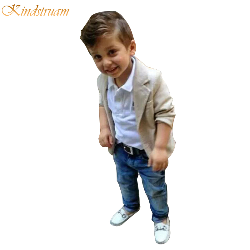 2016 New Arrival Baby Boys Clothing Sets 3 Pieces Blazer T Shirt Jeans European Style Children