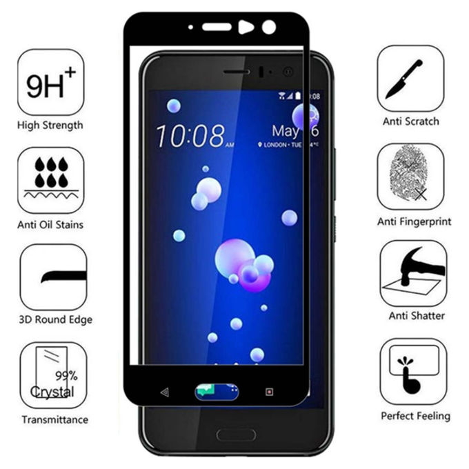 Full Cover Screen Protector 2.5D Silk Printing Mobile Phone Tempered Glass for HTC U11 Eyes/10 Evo/U11 Plus