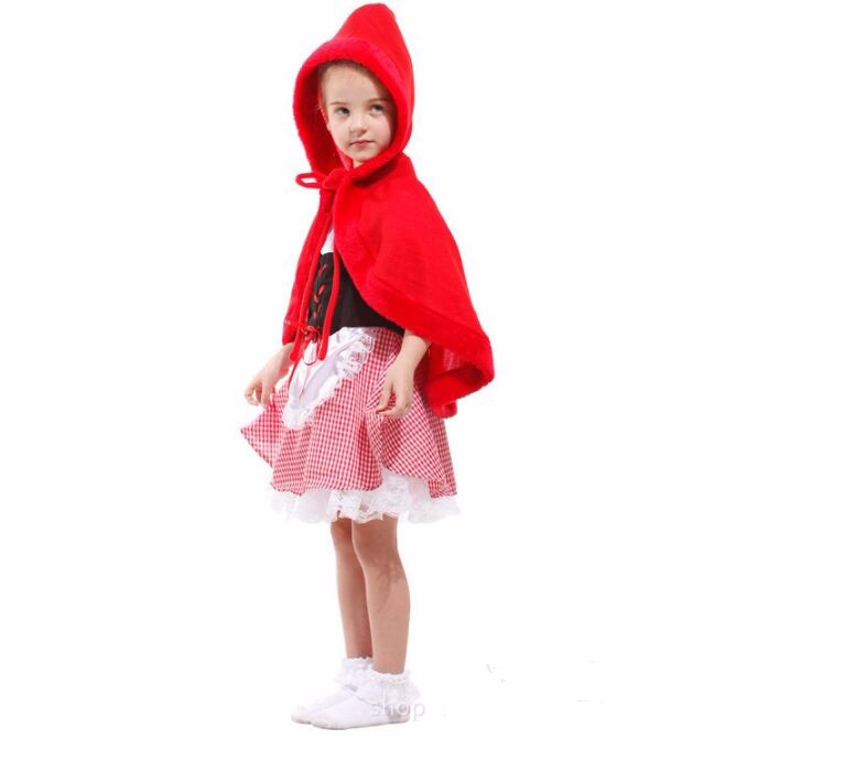 girls fairy tales clothes cute  suits female children halloween kids sexy fancy dress little red riding hood costume 3
