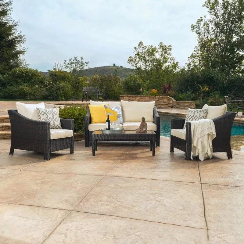 Оптовая продажа, современный дизайн, садовая мебель из ротанга хорошего качества, плетеный диван