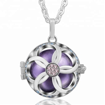Wholesale Lovely Cherry Blossoms Angel Chime Bola Locket Silver 925 CZ Pendant Christmas Gifts