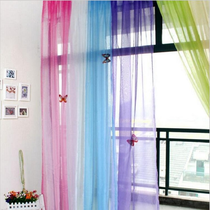 Curtains Elegant Royal Colorful Transparent Tulle Curtains