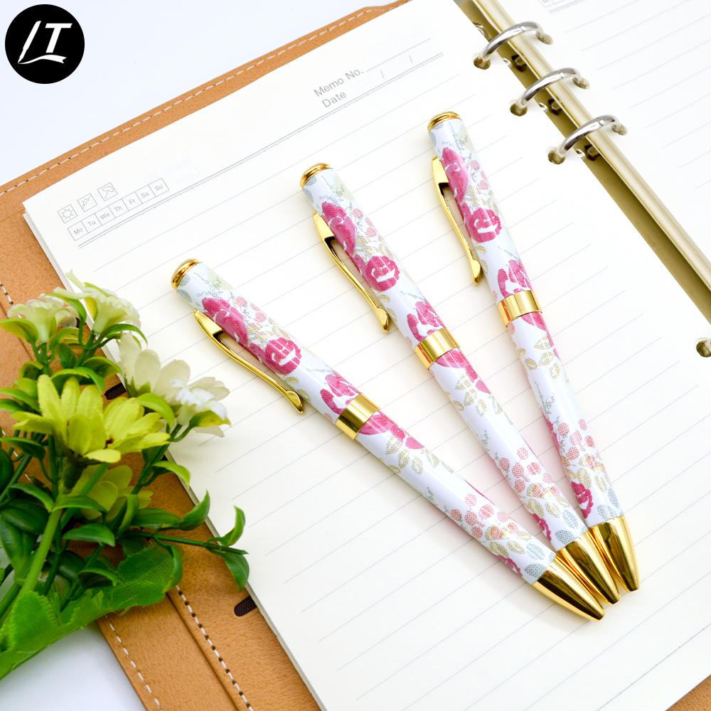 Индивидуальная ручка в дешевой металлической шариковой ручке с индивидуальной полноцветной теплопередающей печатью