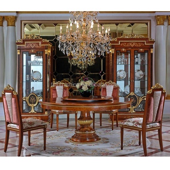 YB38 Luxury Italy mahogany Royal palace 8-12 chairs Dining Room Furnitureantique Baroque solid wood 1.8m round Dining Table