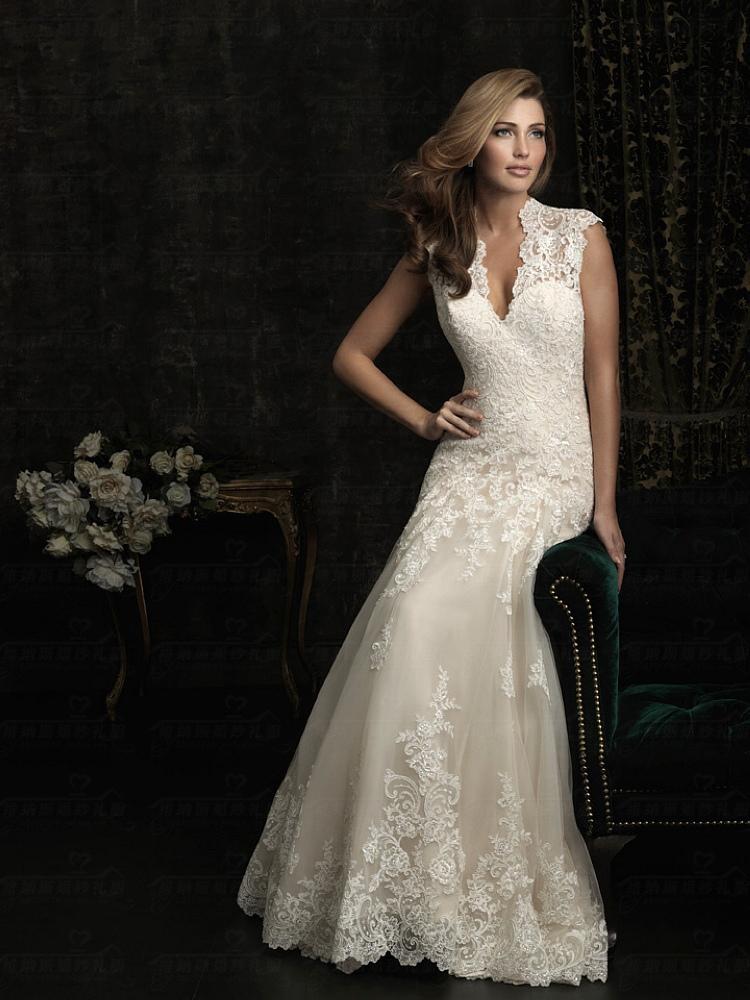 wholesale price a line princess lace keyhole back floor length lace wedding dress 2015 in. Black Bedroom Furniture Sets. Home Design Ideas