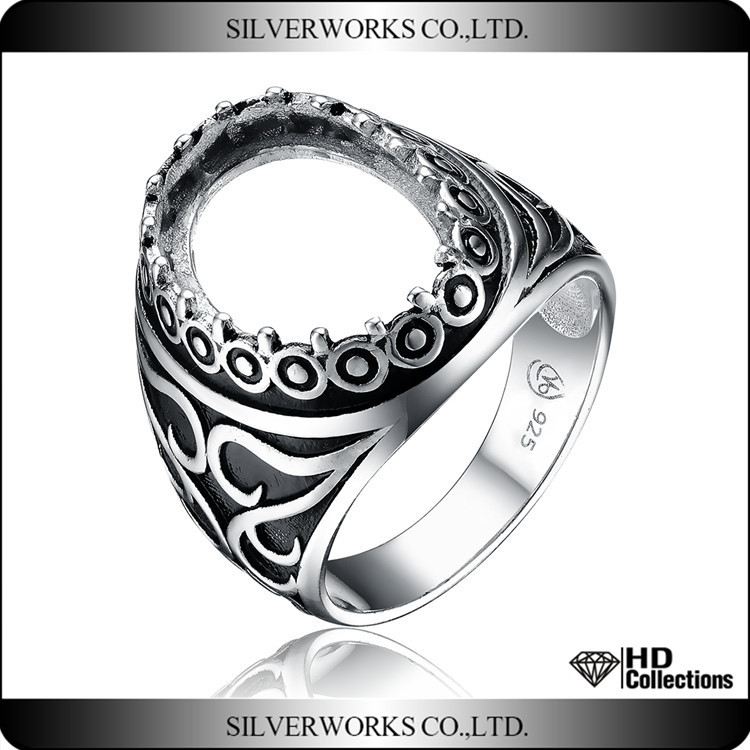 Antique Style Sterling Silver Adjustable Photo Ring