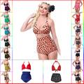 2016 Womens Retro High Waist Push Up Bikini Set Sexy Helter Polka Dot Swimsuit Plus Size