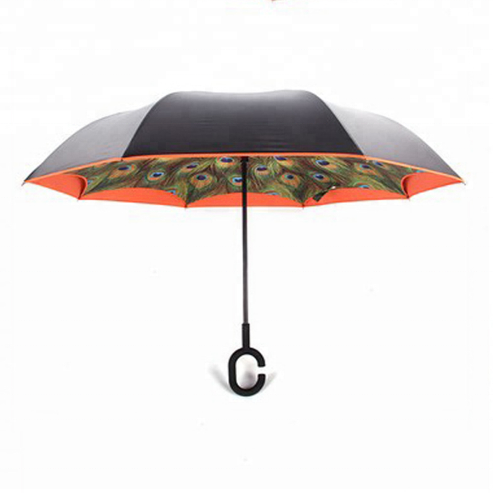 Double Layer Inside Out C Shape Handle Reverse Umbrella