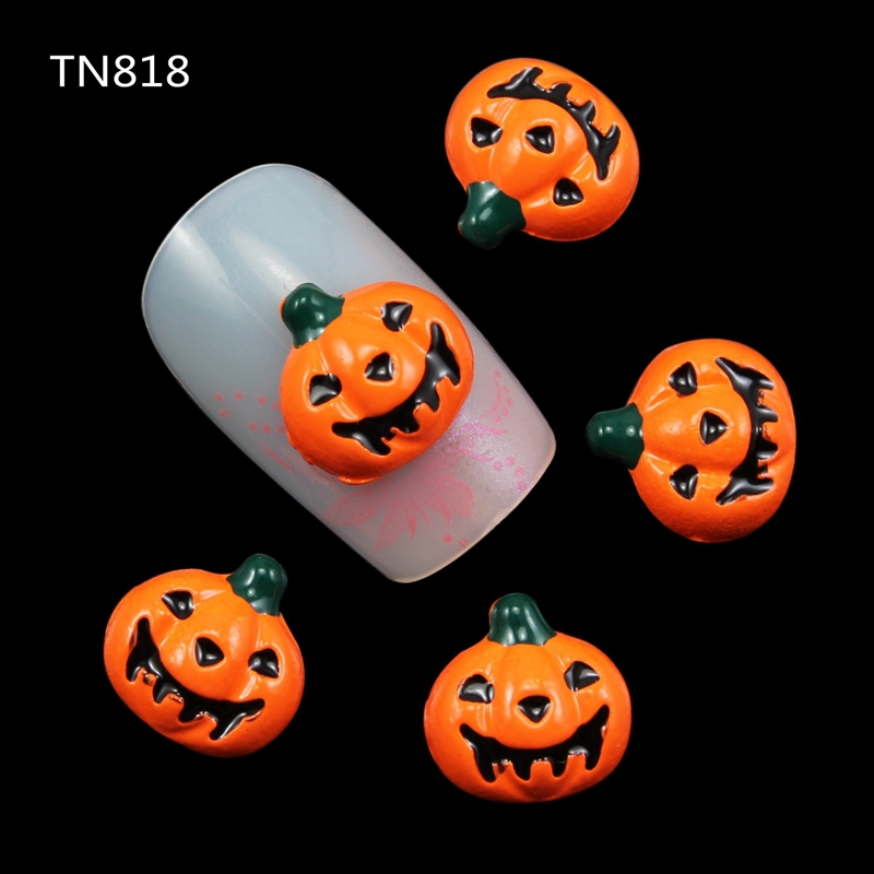 10 Pcs Lot Black Orange Alloy Halloween Pumpkin Manicure 3d Nail