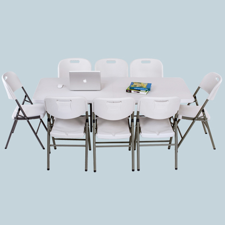 Outdoor Furniture Custom Logo Portable 6FT Portable Plastic Party Dining Camp Table Folding Picnic Table