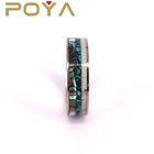 Band And POYA Jewelry Tungsten Carbide Ring Engagement Wedding Band Deer Antler And Crushed Turquoise And Abalone Shell Inlay 8mm