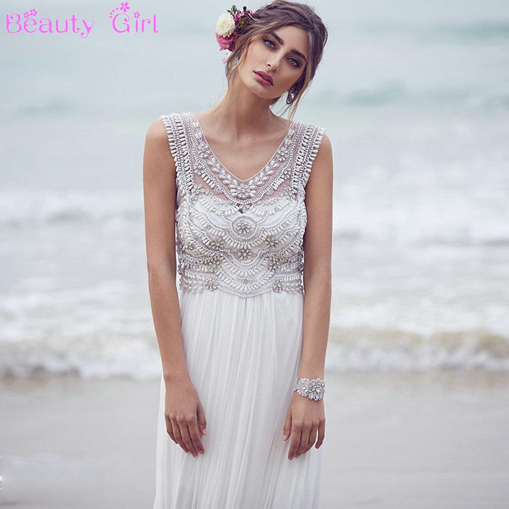 Backless Beach Wedding Dresses V Neck Flowing Vintage Boho: Elegant V Neck Pearl And Crystal Beaded Vintange Wedding