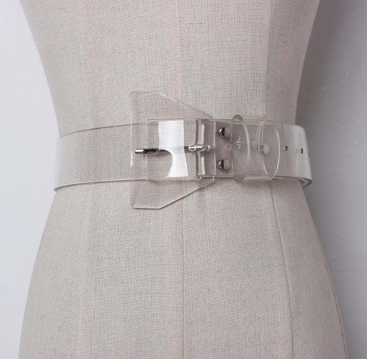 [EAM] 2020 Новинка весны прозрачный пластик однотонный pvc материал для женщин ремень моды прилив все матч повседневное AJ07200(Китай)