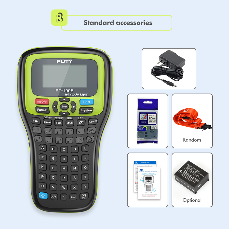 PUTY 2020 новый принтер этикеток PT-100E мини портативный принтер для печати термопереносом