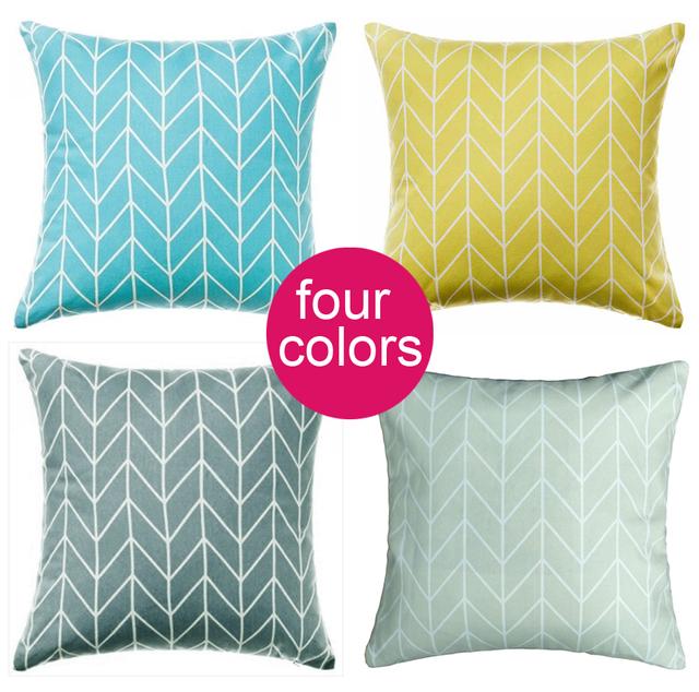 g om trique place taie d 39 oreiller coussins jaune bleu. Black Bedroom Furniture Sets. Home Design Ideas