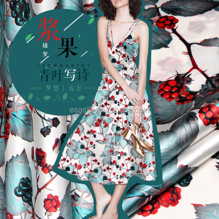 Цифровая печатная эластичная шелковая атласная ткань для шелковых платьев