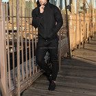Men Men Black Tracksuit For Men Competitive Price Tracksuit For Men Plain Cotton Hoody Sweat Suits Wholesale Jogging Suits Sport Black Track Suit