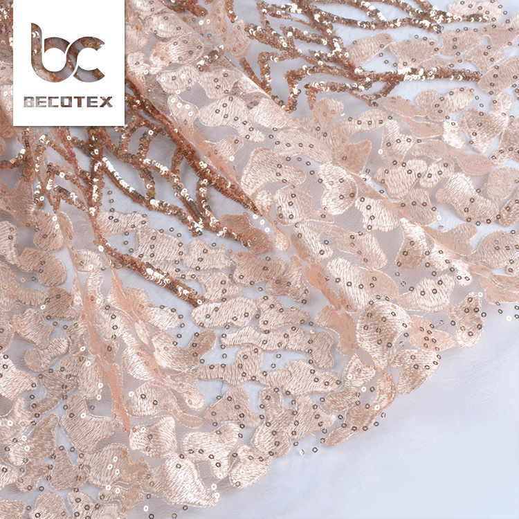 Special new style Fashion poly tulle sequin embroidery fabric