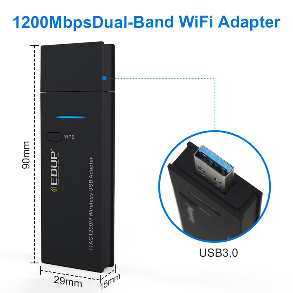 EDUP Mini USB Wifi Adapter 1200mbps 802 11ac High Speed Wifi Wireless  Network Card Dual Band PC Wifi Receiver Adapter Black