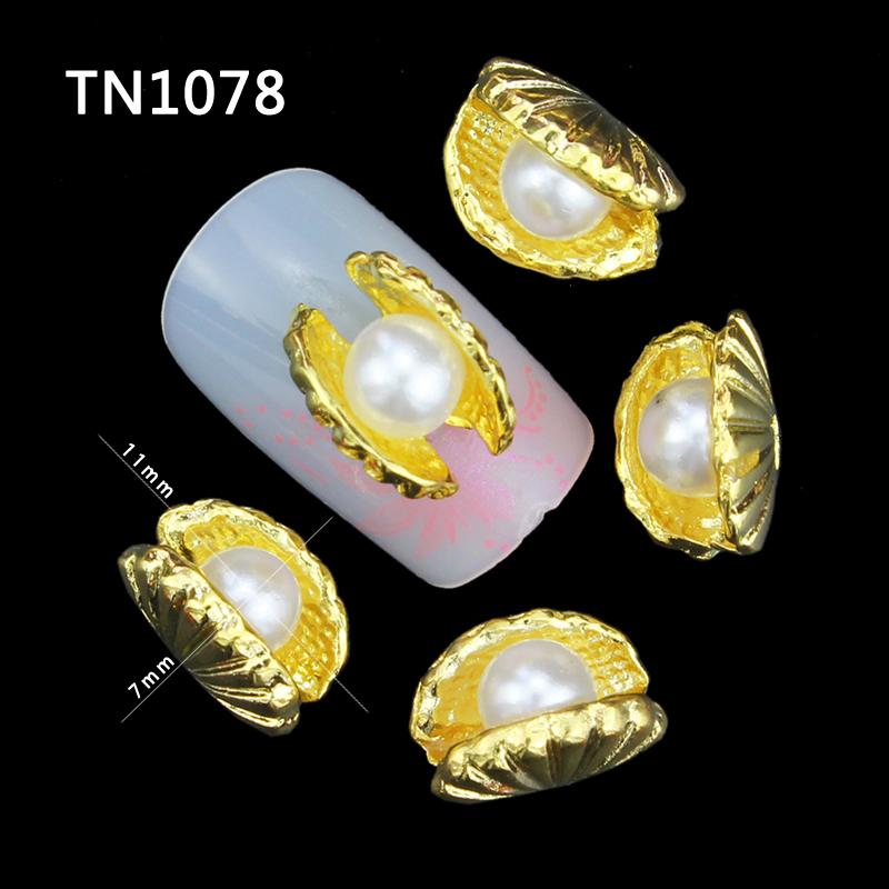 10 Pcs Glitter 3D Pearl Shell Rhinestones For Nail Art Decorations Gel Polish DIY Gold Alloy