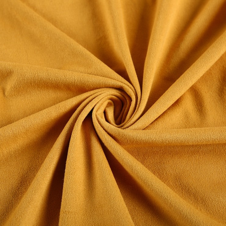 Custom Four Stretch Yellow Suede 90% Polyester 10% Spandex Stretch Polyester Fabric