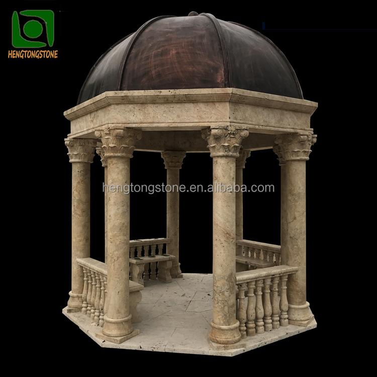 Дешевый желтый травертин, каменная колонна, беседка с 8 колоннами и металлической крышей