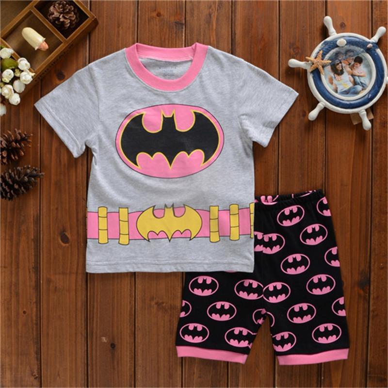 promotion Summer minnie Baby Boys Girls Clothing Sets 2Pcs Cartoon Batman Superman Spiderman t shirt