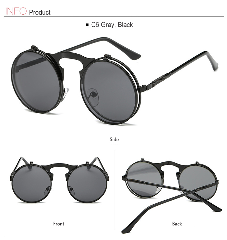 1fc20486a6 Men Small Round Steampunk Sunglasses Metal Gothic Cool Flip Up Tinted Lens  Punk Sunglasses Vintage Retro Style Driving ...