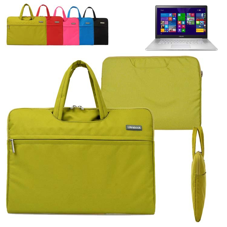 Canvas Fabric Laptop Sleeve Briefcase Carrying Case Bag w/ Pocket & Handle for 15.6-inch Asus ZenBook NX500/ Pro UX501 Ultrabook
