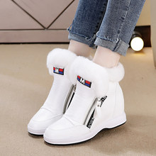 SWYIVY Woman Snow Boots High Top 2018 Winter Female Luxury Rabbit Fur Casual  White Shoes Wedge 80484bfec2e8