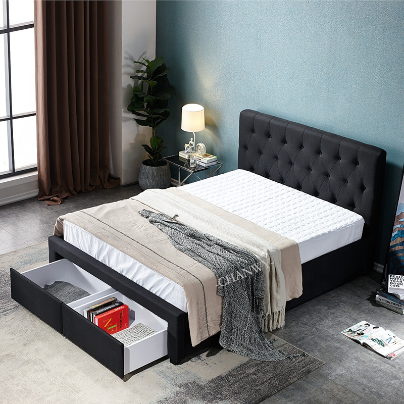Modern upholstered fabric Storage Bed with 2 drawers on footboard black colour