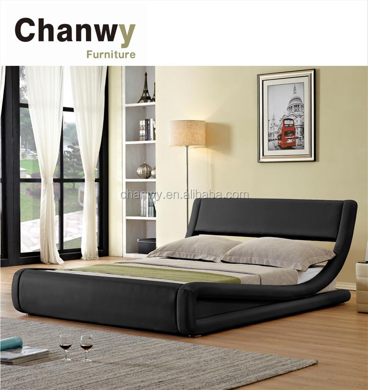 Italian modern design curve shape pu faux leather bed