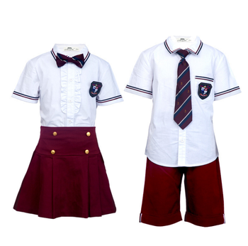 Customize European Style High Quality Summer School Uniform International polo shirt skirt and pants for school boys and girls