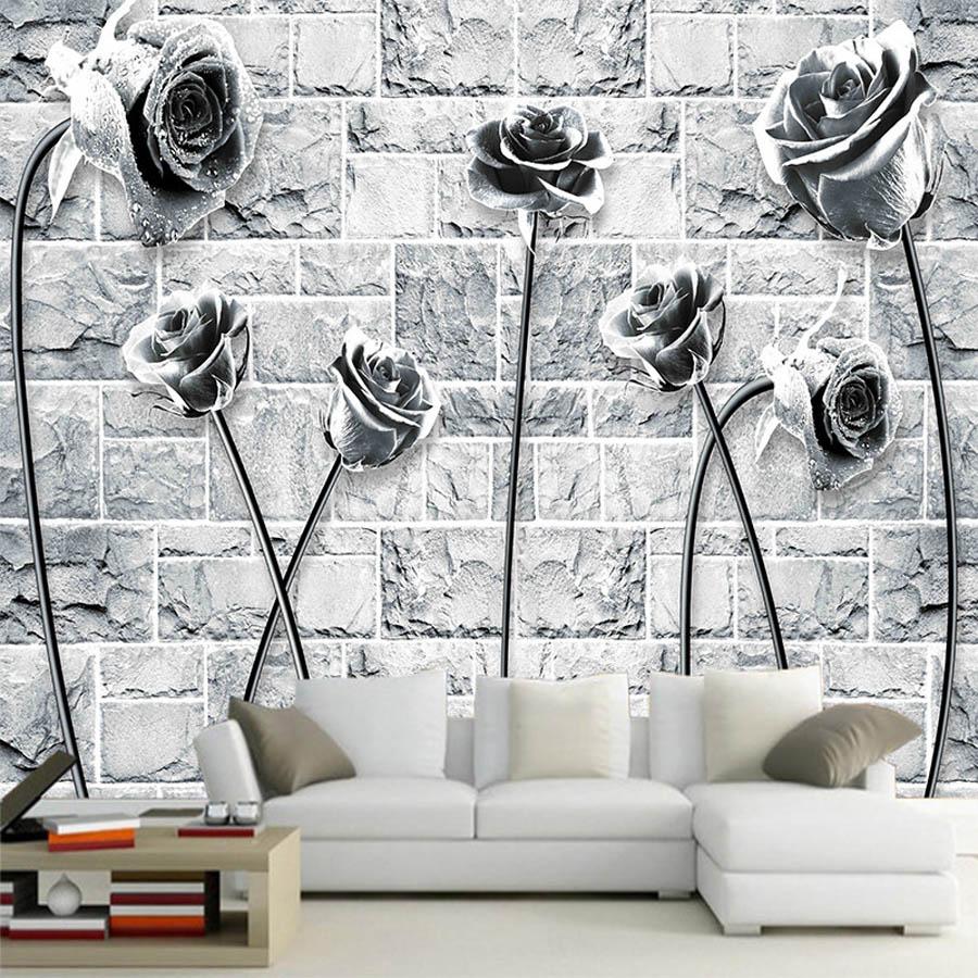 Cool Black White Rose On Brick Wallpaper 3d Room Natural Wallpaper Mural Rolls For 3d Wall Livingroom Bedroom Wall Decor