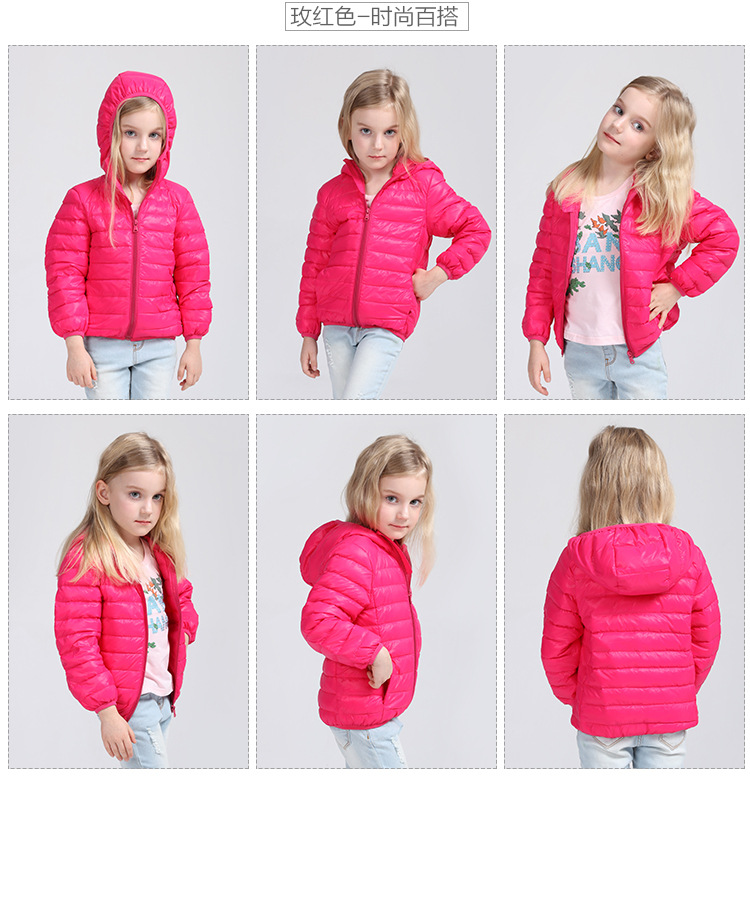1-13Y Ultra light baby Girls boys kids down jacket 90% duck down coat Spring Autumn winter warm children clothes cap and pocket