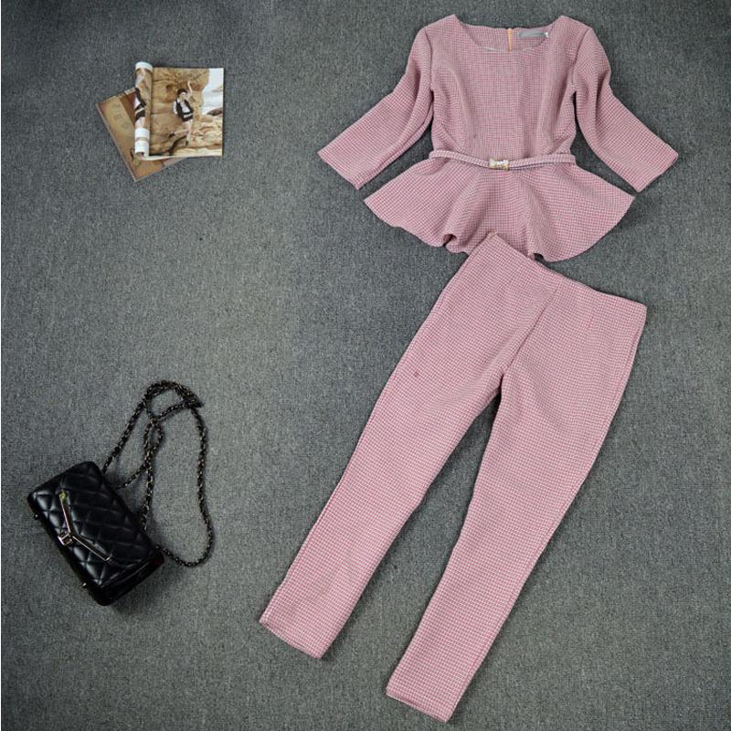 Новый 2015 весна осень мода женщин бизнес брюки хаундстут проверки узор-оборками-лук-женщины для женщин 2 шт. комплект
