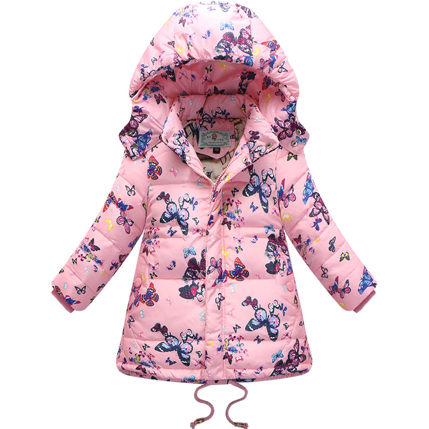 Long Down Jacket For Girls Brand Children Parka Butterfly Girls Winter Coat Duck Down Thick Hooded