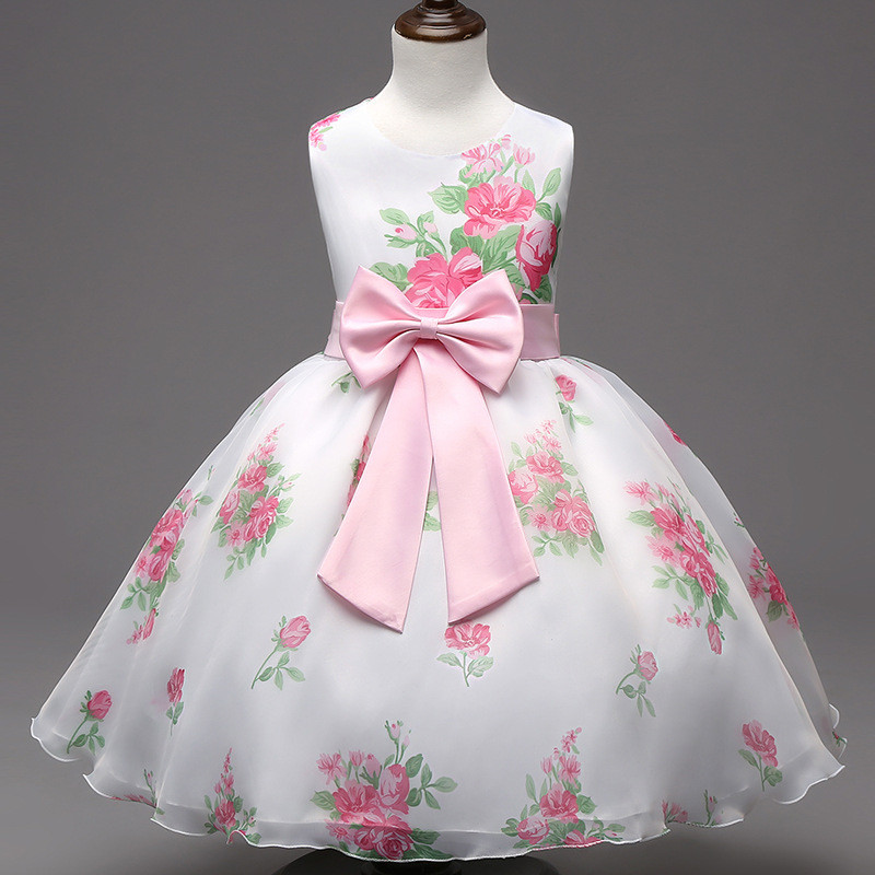 Peach Print Baby Girl Kids Summer Dress