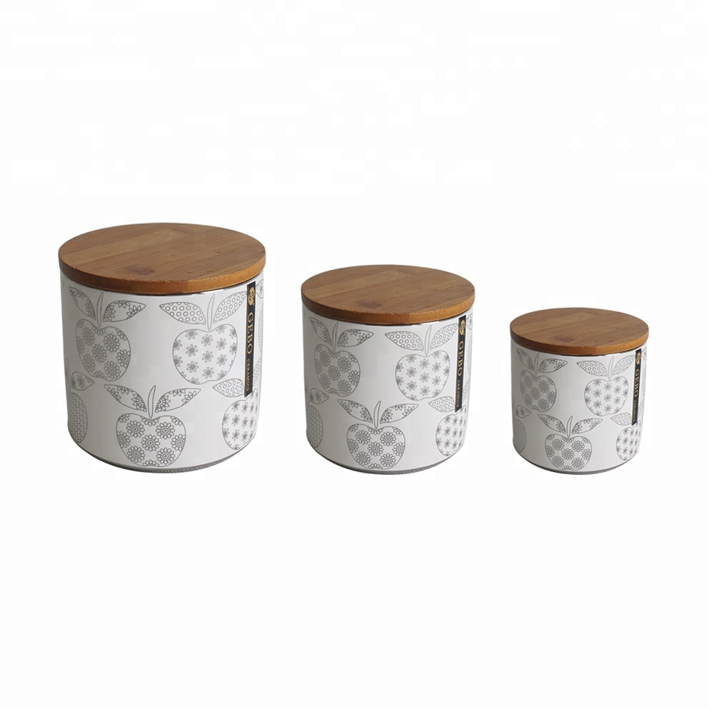 Ceramic Airtight Storage Jars With Wooden Lid Canister Sets Kitchen Buy Unique Kitchen Canisters Set Ceramic Canister Set With Wooden Lids Product On Alibaba Com