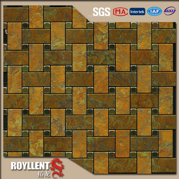 Cheap Peel And Stick Backsplash: Royllent Acp Mosaic Diy Brown White Peel And Stick