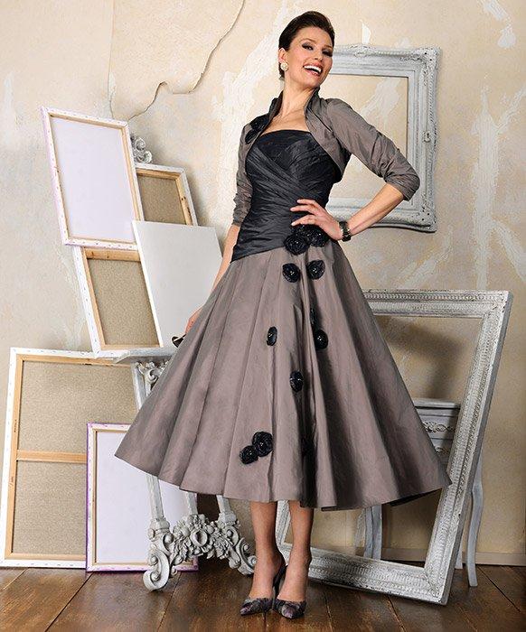 Elegant Long Sleeve Tea Length Wedding Dresses Simple: 3/4 Sleeves Jacket Mother Of The Bride Dress Calf Tea