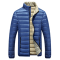 Winter Jacket Men 2016 New Arrival Down Slim Fit Coats Quilted Long Sleeve Cotton Padded Solid