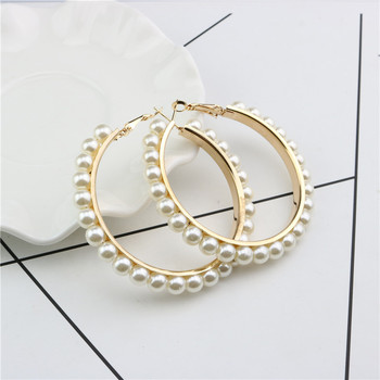 Statement 18K Gold Plated Pearl Earring Pearl Paved Large Round Circle Hoop Earring
